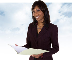Lady holding free legal advice documents